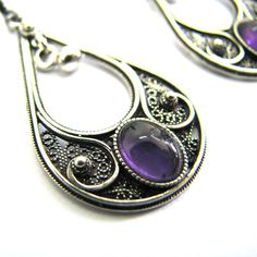 925 Sterling Silver, Filigree, Drop Earrings Decorated With Amethyst Gemstones, Artisan Woman Jewelry - Free Shipping ID1015