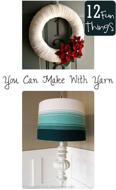 12 Fun Things You Can Make With Yarn.  DIY yarn craft ideas and projects.  Cute DIY home decor ideas that are easy to make with your yarn supply:)