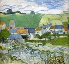 View of Auvers - Vincent van Gogh . Created in Auvers-sur-Oise in May - June, Located at Van Gogh Museum. Find a print of this Oil on Canvas Painting Claude Monet, Vincent Van Gogh, Van Gogh Museum, Art Van, Desenhos Van Gogh, Van Gogh Arte, Van Gogh Pinturas, Rembrandt, Van Gogh Paintings