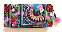 Wallet by WP Embroidery Bird Multicolors Zipper Wallet Purse Clutch Bag Handbag Iphone Case Handmade for Women