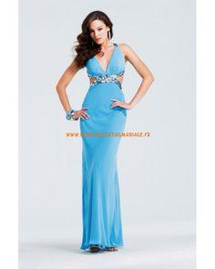 Robe col en V dos nu bleue longueur ras du sol mousseline robe de soirée 2013