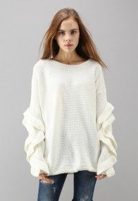 Charm to Meet You Ruffle Sleeves Ribbed Sweater in White