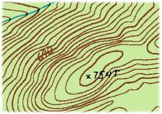 A Guide to Topographic Maps with Key to Symbols. Free download with instructions on how to read a USGS (US Geological Survey) map that are often used by hikers, x-c skiiers, etc. The contours show elevation differences. Labeled index lines (thick) and intermediate lines (thin) allow for approximate height at a given point. The shaped groups of contours represent hills, valleys, gullies and level land. The contours above illustrate a hill with a 754 meter high summit with no roads nor trails.