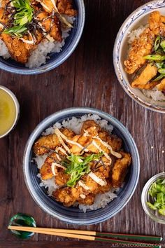 Juicy on the inside and crispy on the outside, this Chinese-style Chicken Karaage Donburi is a great one-dish meal! 中華風唐揚げ丼ぶり #FriedChicken #Karaage #RiceBowl #JapaneseFood | Easy Japanese Recipes at JustOneCookbook.com Easy Japanese Recipes, Japanese Food, Chinese Food, Asian Recipes, Healthy Recipes, Ethnic Recipes, Japanese Rice Bowl, Japanese Dishes, Chinese Style Chicken
