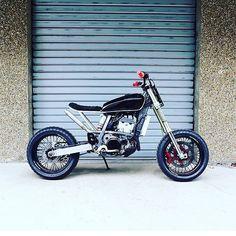 "The ""Super Tracker"" a 434cc Suzuki #DRZ400 by @56motorcycles of Paris. #drz400sm #supermoto #tracker"