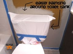 painting around a toilet, remove the toilet tank lid and cover the entire tank with a kitchen trash bag.Before painting around a toilet, remove the toilet tank lid and cover the entire tank with a kitchen trash bag. Casa Clean, Home Repairs, Diy Painting, Painting Bathroom Walls, How To Paint Bathrooms, How To Paint Walls, House Painting Tips, Redo Bathroom, Cooler Painting