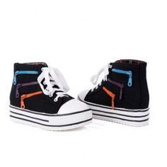 $21.65 Sweet Women's Canvas Shoes With Color Zipper and Lace-Up Design