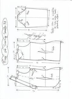 Esquema de modelagem de Blazer Smoking tamanho 38.