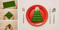 Christmas Tree Napkin Folding #tutorial