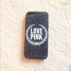 PINK iPhone 5 case. Rubber. Dark grey with sparkles. For an iPhone 5 or iPhone 5s Accessories Phone Cases