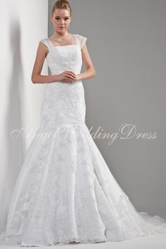 ermaid Straps Tulle Lace up Empire Chapel Train Floor Length Sleeveless Bridal Gown