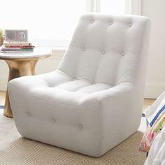 Gray Linen Modern Slipper Chair #pbteen
