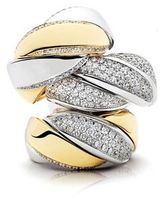 Rosendorff Two Tone Gold and Diamond Cocktail Rings