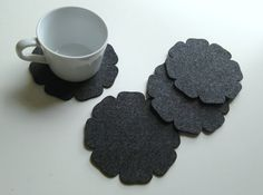 Felt Coasters, set of 4, home deco table , party deco, wedding, gift, modern/floral.
