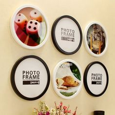 Advertisement - New Photo Frame Modern Round Wall Mounted Picture Frame Living Room Ornaments Round Picture Frames, New Photo Frame, Photo Picture Frames, Photo Wall, Displaying Family Pictures, Living Room Ornaments, Picture Holders, Wooden Picture, Diy Hanging