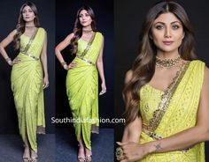 Drape Sarees, Neutral Makeup, Gold Sandals, South India, Prom Dresses, Formal Dresses, India Fashion, Neon Green, Wavy Hair