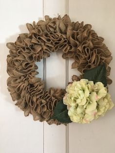 Ruffle Burlap Wreath, white flowers, Hydrangeas, door decor, wall decoration, natural burlap, every day wreath, spring wreath, front door by MOSTaDOORableWREATHS on Etsy