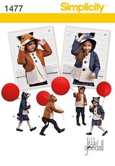 1477 Simplicity Creative Group - Child's Fox and Racoon Felt Jacket