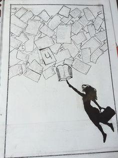 Inkt tekening er hangt iets in de lucht