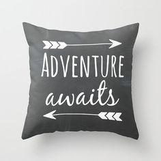 Adventure Awaits Pillow Black Pillow Chalkboard Pillow Travel Pillow Throw…