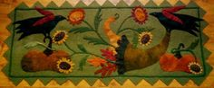 Fall Garden Bounty by A Piece of Work. Finished size is 16 x Would work wonderful in either wool or wool felt. Motifs Applique Laine, Wool Applique Patterns, Felt Patterns, Felt Embroidery, Felt Applique, Applique Quilts, Motifs D'appliques, Penny Rug Patterns, Halloween Applique
