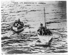 Titanic lifeboats with survivors on way to Carpathia