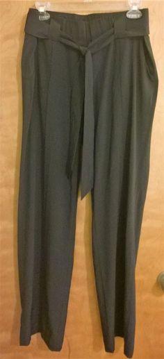 e2c088342a85 ATHLETA Womens Destination Pants Black Flowy Wide Leg w  Tie Belt Size 12   fashion
