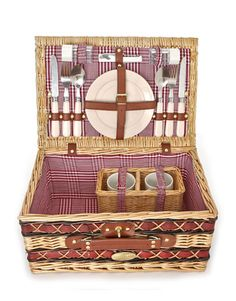 Faux-leather trim and a plaid lining give Sutherland Baskets' two-setting case western flavor. ($54.99; picnicbaskets.com)