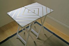 Yesterday I alluded to that fact that we did 3 projects with gold this past weekend. Our third project was dressing up some TV trays. Let m...
