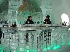 ice bar at Ice Hotel De Glace, Quebec City, Canada. The entire hotel is made of ice! Ice Hotel Quebec, Quebec City, Ottawa, Torre Cn, Ontario, Places Around The World, Around The Worlds, Places To Travel, Places To Go