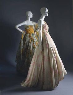 """""""Cecil Beaton""""  House of Dior (French, founded 1947)  Designer: Christian Dior (French, Granville 1905–1957 Montecatini)  Date: spring/summer 1951  Culture: French  Medium: silk, cotton  Dimensions: (a) Length at CB: 4 in. (10.2 cm) (b) Length at CB: 50 in. (127 cm) (c) Length: 27 in. (68.6 cm)  Credit Line: Gift of Mrs. Byron C. Foy, 1953  Accession Number: C.I.53.40.25a–c  This artwork is not on display"""