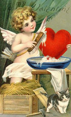 Frances Brundage Beautiful Cupid Valentine Felt Applique Heart Kitten Vintage Postcard by JerryBurton on Etsy My Sweet Valentine, Valentine Cupid, Valentine Images, My Funny Valentine, Valentines Greetings, Vintage Valentine Cards, Valentines Day Hearts, Vintage Greeting Cards, Vintage Ephemera