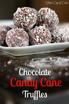 Chocolate Candy Cane Truffles - Your Cup of Cake. These things are NOT RIGHT. My thoughts on altering the recipe: dip the truffle mixture in melted chocolate, then sprinkle the crushed candy cane on the top. Best Christmas Desserts, Christmas Cooking, Holiday Treats, Holiday Recipes, Christmas Chocolate, Holiday Foods, Köstliche Desserts, Delicious Desserts, Dessert Recipes