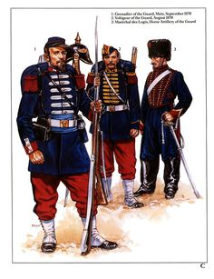 1:Grenadier of the Guard,Metz,September,1870.2:Voltigeur of the Guard,1870.3:Merechal des Logis,Horse Artillery of the Guard.