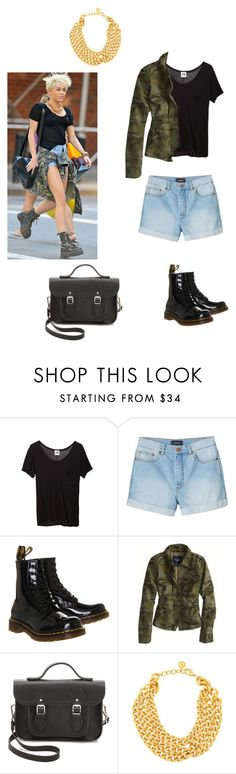 """Have the look #1 : Miley Cyrus"" by olive-seidler ❤ liked on Polyvore featuring Mlle Mademoiselle, Monki, Dr. Martens, American Eagle Outfitters, The Cambridge Satchel Company and Ben-Amun"