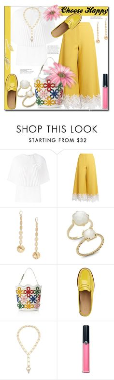 """""""Choose Happy"""" by helenaymangual ❤ liked on Polyvore featuring Sara Battaglia, Saks Fifth Avenue, G.H. Bass & Co. and Armani Beauty"""