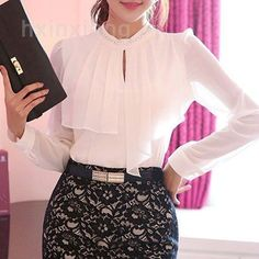 Buy 2015 New Women Blouses Long Sleeve Chiffon Shirt Crystal Diamond Necklace O Neck Office Shirt White Ladies Blouses Chemise Femme on AliExpress, and share Women's Blouses & Shirts, Apparel & Accessories on AliPocket Work Fashion, Hijab Fashion, Fashion Dresses, Mode Outfits, Skirt Outfits, Classy Dress, Classy Outfits, Blouse Designs, Blouse Styles
