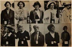 En 1912, detectives de Scotland Yard fotografiaron secretamente sufragistas. Las imágenes fueron recopiladas en hojas de identificación para funcionarios.
