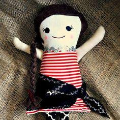 "Pirate Girl Fabric Rag Doll 14""  $35"