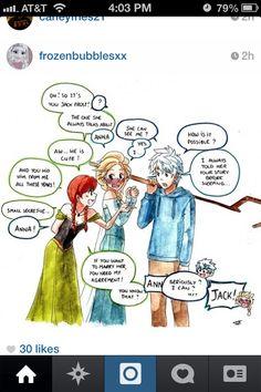 Jack Frost meets Anna. Poor Elsa