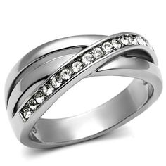 Clear Crystal Pave Crossed Line Infinity Silver Stainless Steel Ladies Ring