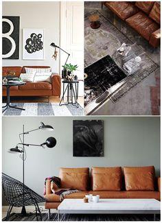 Couch, Sofa, Lounge: Leder in Karamell, Honig, Cognac