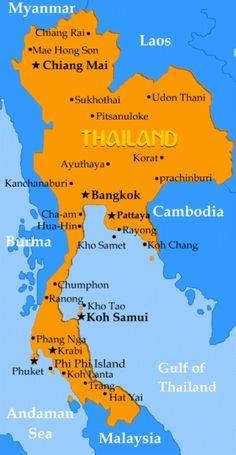 hailand rundreise landkarte thailand