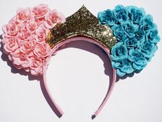Items similar to Sleeping Beauty inspired Mickey/Minnie Ears. Pink and Blue Rose Ear with Gold Crown. Diy Disney Ears, Disney Mickey Ears, Mickey Mouse Ears, Disney Diy, Disney Crafts, Disney Trips, Disney Ideas, Disneyland Outfits, Cute Headbands