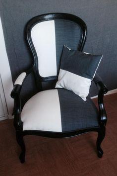 fauteuil confortable voltaire Black&White relooké : Meubles et rangements par sieges-et-cie