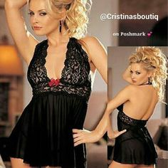 ??? Black Babydoll Lingerie Red Bow G string Set Black Babydoll Lingerie with Red bow and G string Set  Brand new (no tags )  Fits Small and Medium  Very sexy,  see through material  Polyester and Lace No Brand Intimates & Sleepwear Chemises & Slips