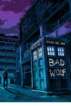 """HAPPY BAD WOLF DAY IF YOU KNOW WHAT/WHO BAD WOLF IS WRITE IT ON EVERYTHING TODAY!!!! Homework, sidewalk, driveway, etc!!! Spread the word to all whovians!!!"""
