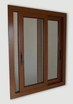 Corrediza Aluminio color cobre Wooden Window Design, House Window Design, Small House Interior Design, Hotel Room Design, Door Design Interior, Simple House Design, Wooden Windows, Home Office Design, Wooden Sliding Doors