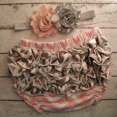 Pink Chevron with Gray Chevron Ruffle Bum by SassySweetPeaDesigns, $17.99- Baby Jones