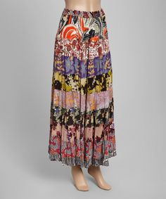 Orange & Pink Patchwork Peasant Skirt